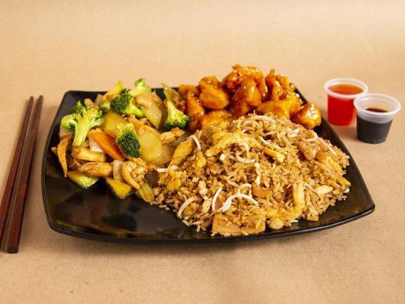 Arroz Chino + Chop Suey + Pollo en Salsa de Naranja
