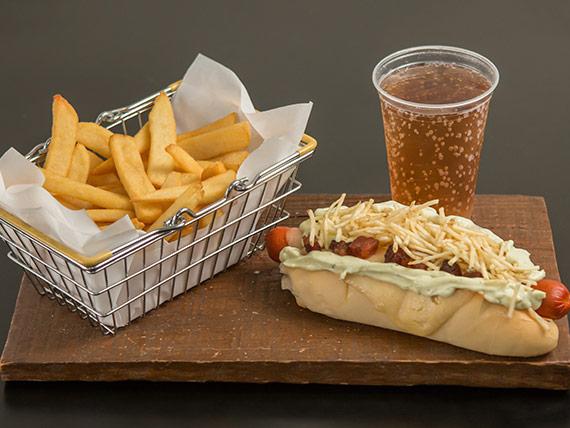 Combo 3 - Q-dog cheddar + batata média + bebida em lata