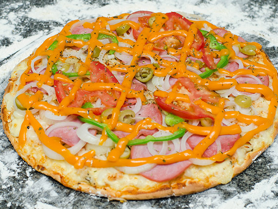 Pizza lombo com cheddar