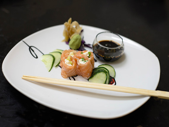 Geisha de salmón, Philadelphia y verdeo
