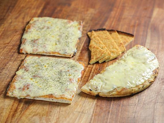 Promo 2 - 2 pizzas muzzarella + figazza con muzzarella + fainá + Coca Cola 1 L