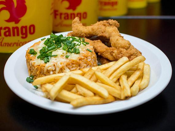 Combo individual - Risoto + batata frita ou polenta + franqueijinho