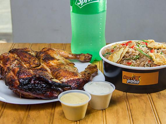 Parripromo 2 - Pollo + guarnición + bebida línea Coca Cola