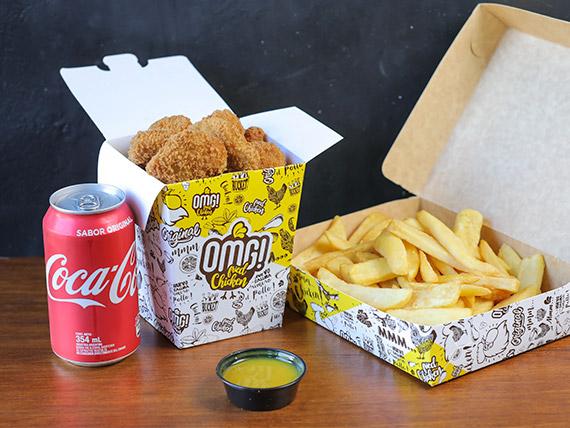 Combo - Nuggets (6 unidades) + papas fritas + salsa + bebida en lata