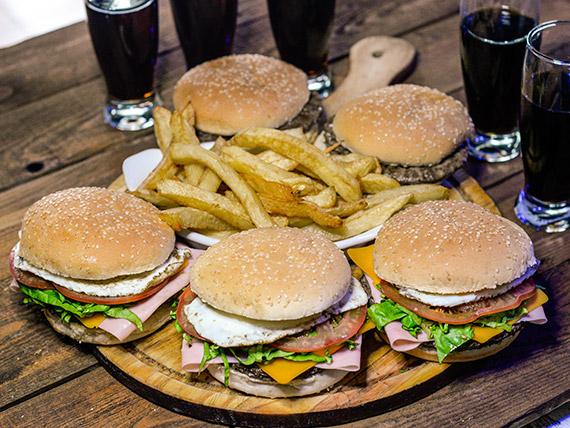 Promo 13 - 5 hamburguesas simples con jamón, cheddar, huevo frito lechuga y tomate + papas fritas + Coca Cola de 1.5L
