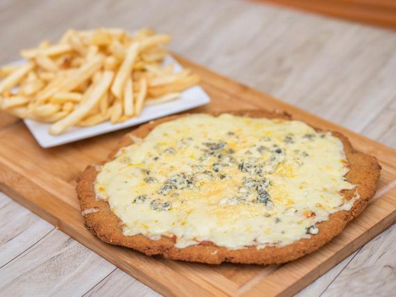 Milapizza cuatro quesos con guarnición   (para dos personas)