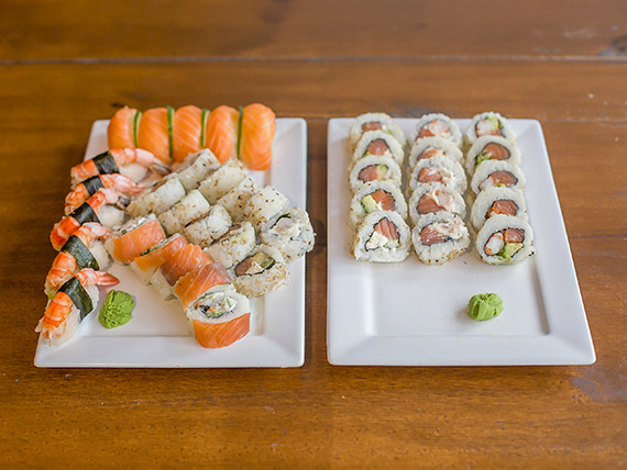 Combinado - Mix salmón y langostinos 40 piezas
