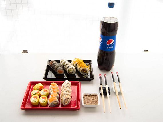 Promo para dos L - 30 piezas combinadas + refresco Pepsi 1.5 L