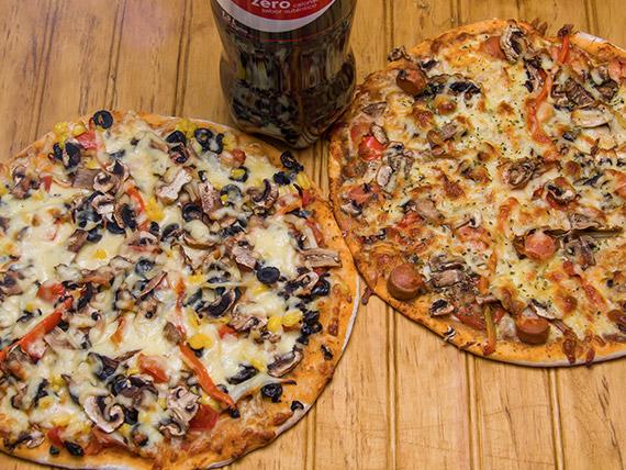 Promo Lievito 1 - 2 pizzas medianas a elección + gaseosa línea Coca Cola 1.5 L
