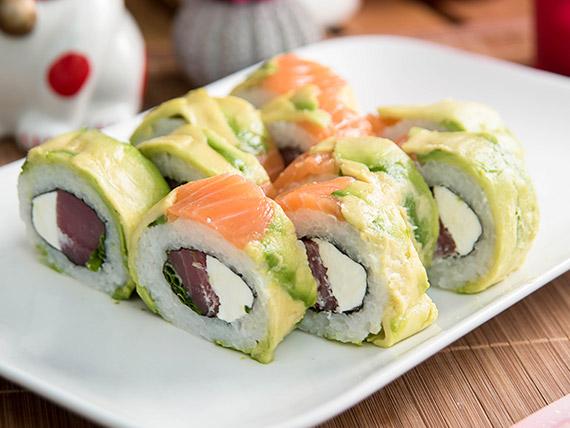 48 - Roll mixto con atún, queso crema  y ciboulette  (10 piezas)