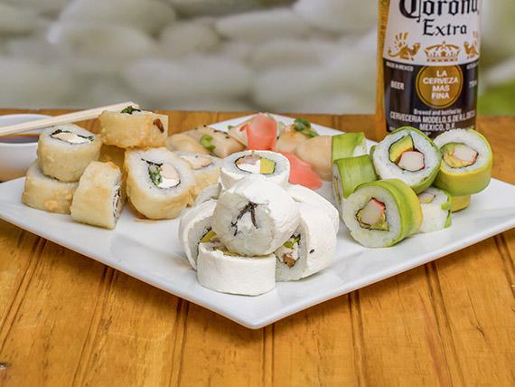 Neo promo - 24 rolls + 5 gyozas de cerdo + bebida de 1.5 L o cerveza de 710 cc