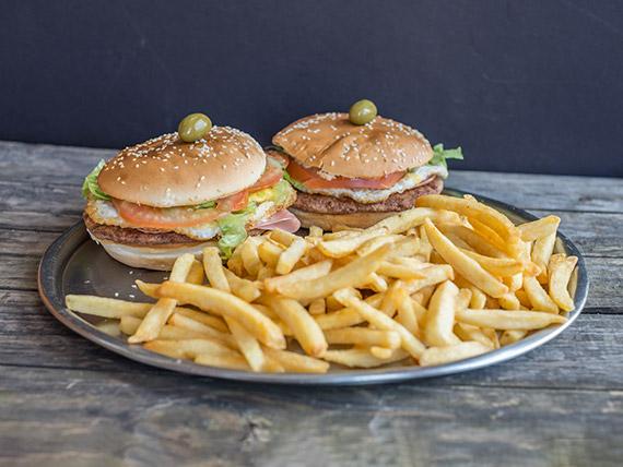 Promo - 2 Hamburguesas super + papas fritas