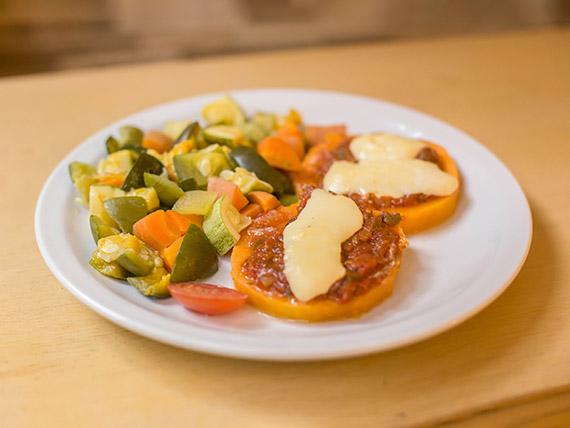 Calabazas napolitanas con vegetales al vapor