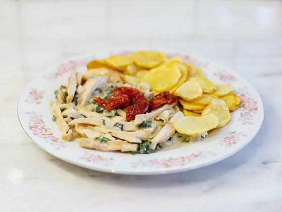 Lonjitas de pollo al verdeo con papas españolas