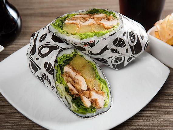 Combo sushi burrito súper gallina + bebida 350 ml + tica
