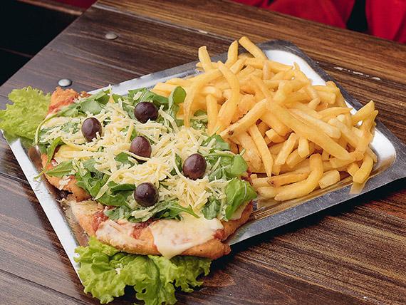 11 - Pizzanesa con rúcula y papas fritas
