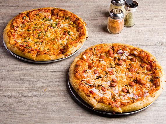Promo - 2 pizzas medianas con 3 ingredientes + bebida 1.5 L + acompañamiento