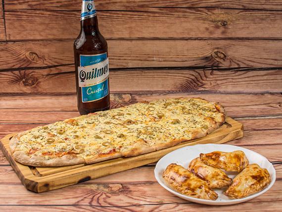 Promo - Pizza muzzarella (12 porciones) + 4 empanadas + bebida