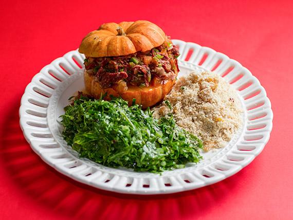 Prato de domingo - moranguinha brasileirinha recheada de carne seca (serve 1 pessoa)