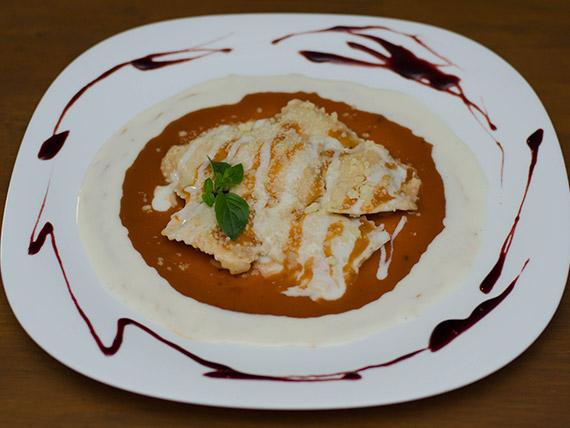 Raviolone de carne seca e abóbora (prato quente)