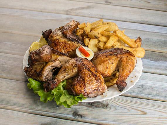 Pollo a la leña (para cuatro)