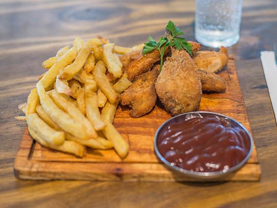 Promo 6 - Pollo frito + guarnición + salsas (come 1 persona)