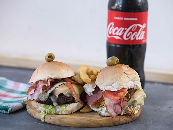 Promo 2 - 2 hamburguesas Riquissimas + gaseosa línea Pepsi 1.5 L