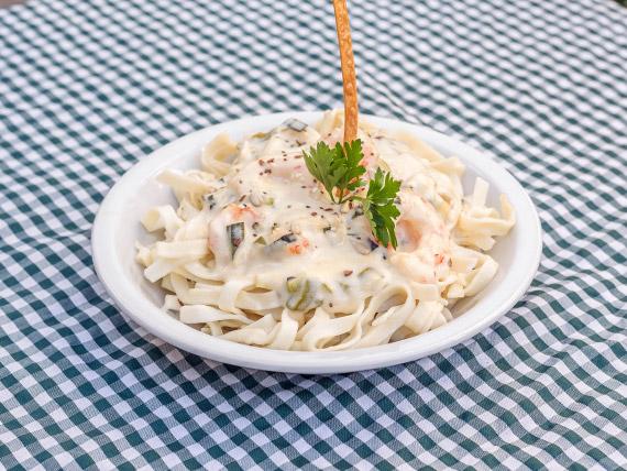 Sugerencia - Tallarines anchos con langostinos
