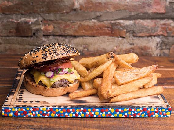 Combo - Hamburguesa sweet bacon + papas fritas