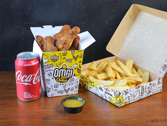 Combo - Alitas (4 unidades) + papas fritas + salsa + bebida en lata