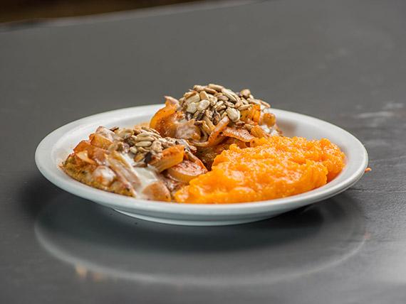 24 - Crocantes de arroz integral y verduritas al horno con puré de zanahorias