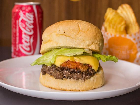 Combo - Burger tradicional + refrigerante lata + chips