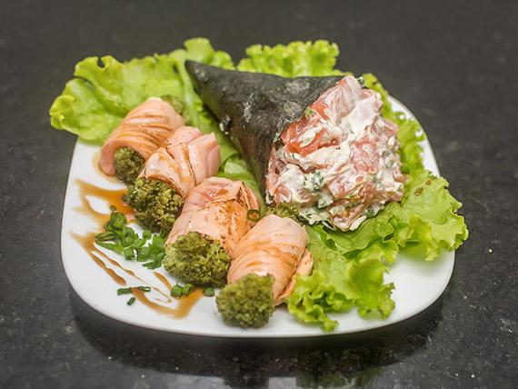 Fit 3 - 4 Gunkan de salmão e pepino + 8 makis Philadelfia arroz integral