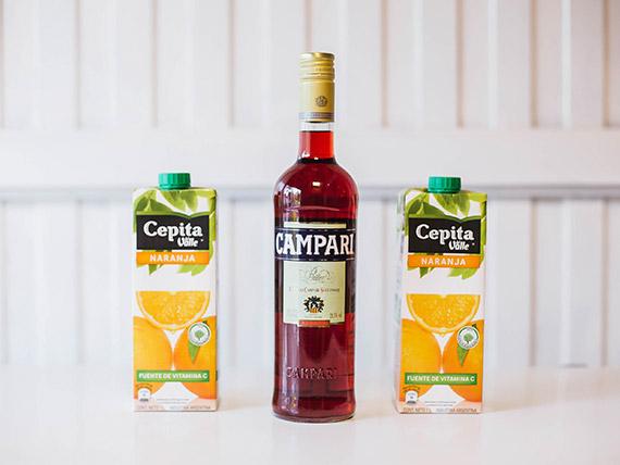 Promo 3 - Campari 750 ml + 2 jugos Baggio 1 L