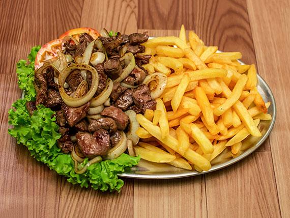 Porção - filé mignion com fritas ou mandioca