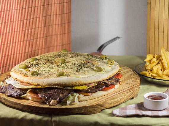 Promo 24 - Lomo pizza (8 porciones) + papas fritas grandes (6 personas)