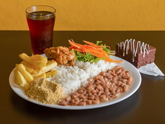 Prato - Frango, arroz, feijão, batata belga e salada