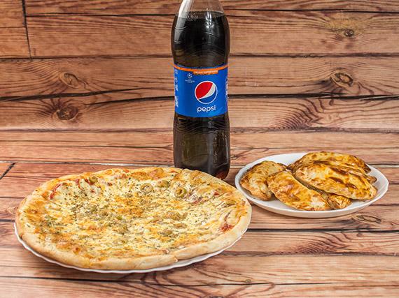 Promo - Pizza especial + 6 empanadas + gaseosa Pepsi 1.5 L o Quilmes 1 L