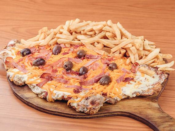 Pizzanesa con panceta y cheddar (comen 2 o 3)