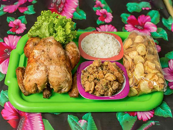 Prato do fim de semana e feriados - frango assado inteiro + três acompanhamentos