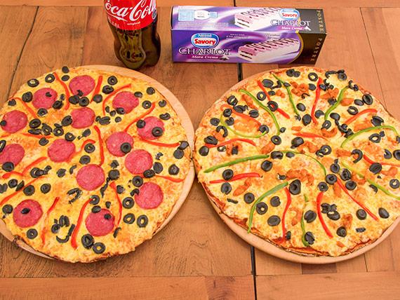 Promo 3 - 2 Pizzas familiares + bebida 1.5 L + postre helado Charlot