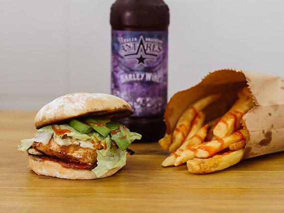 Combo Sweet Combination - ZZ Top burger + Cerveza negra Modelo + fries