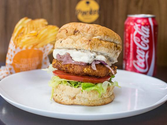 Combo - Burger Chiken + refrigerante lata + chips