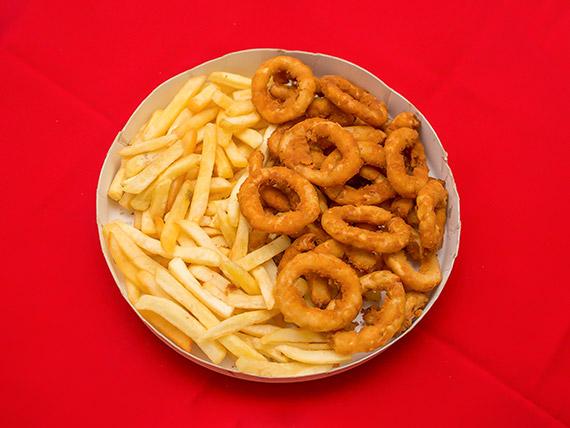Promoção - Anéis de cebola (onion rings) com fritas