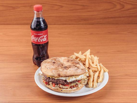 Combo para uno - Sándwich de hamburguesa súper King + bebida 500 ml + papas fritas