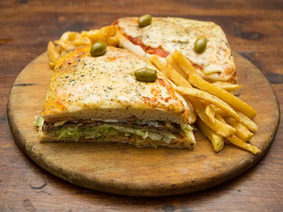 Promo - 1/2 pizza lomo con papas fritas