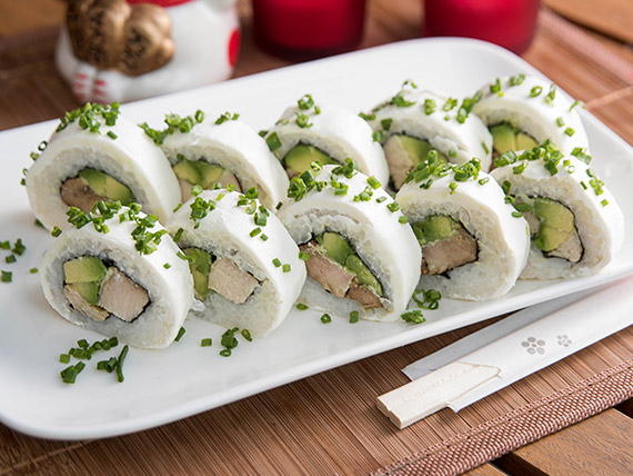 41 - Queso  roll con pollo teriyaki y palta  (10 piezas)