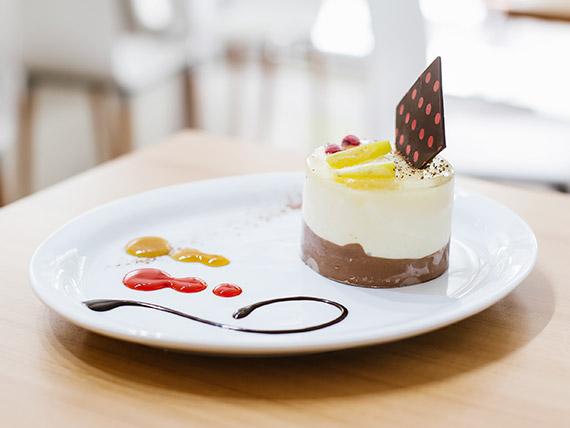 Minitorta mousse de chocolate y limón