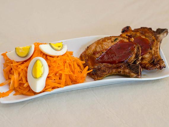 Costeletas de Cerdo al BBQ + Guarnicion