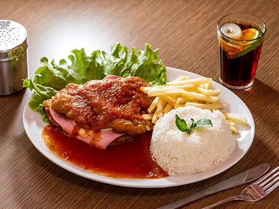 Parmegiana filé de frango (com arroz e fritas)